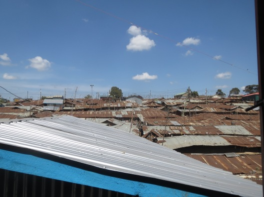 It's difficult to describe how big Kibera is, but here's a small view of many rooftops.