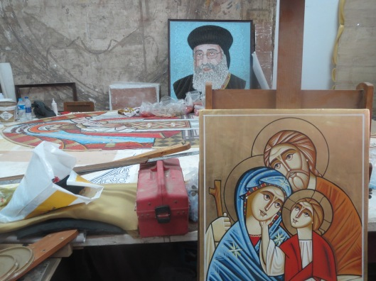 In-progress projects in the icon workshop.